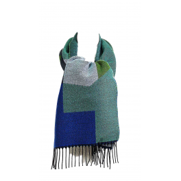 Echarpe femme Géométrie vert bleu