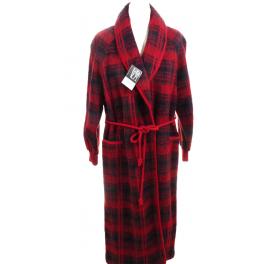 Robe de chambre laine des Pyrénées croisé col châle écossais