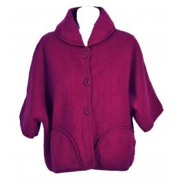 Poncho veste laine des Pyrénées Framboise