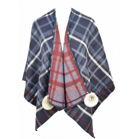 cape poncho reversible acrylique écossais marine en stock fecd8f05708