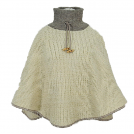 Poncho Col tricot écru