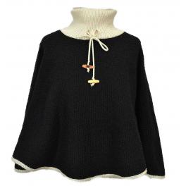 Poncho Col tricot noir
