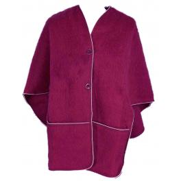 Poncho femme laine des Pyrénées framboise