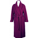 Robe de chambre laine des Pyrénées croisé col châle poignets revers framboise