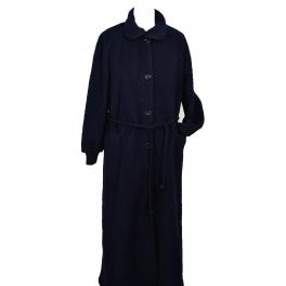 Robe de chambre laine des Pyrénées boutonnée col claudine Noir