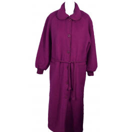 Robe de chambre laine des Pyrénées boutonnée col claudine