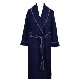 Robe de chambre laine des Pyrénées croisé col châle poignets revers marine