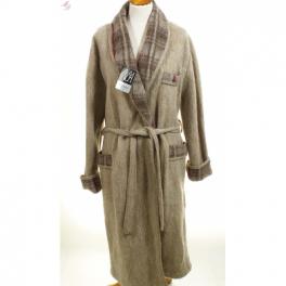 Robe de chambre homme laine des Pyrénées unie col écossais sahara