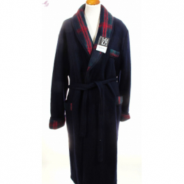 Robe de chambre homme laine des Pyrénées unie col écossais marine
